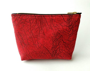 Red Marble Cosmetic Bag, Gift for Woman, Makeup Organizer, Makeup Zipper Pouch