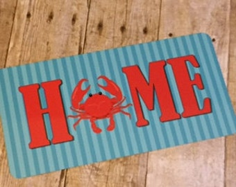 Crab Sign - Summer Sign - Home Sign - Wreath Sign - Aluminum Sign - Wreath Attachment