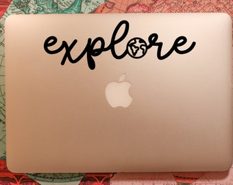 EXPLORE vinyl decal    travel macbook laptop sticker
