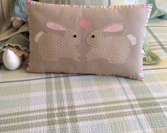 Rabbit spring bunnies pastal pillow