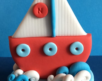 Edible 3d fondant SAILING BOAT cake topper. Suits nautical birthday theme. Gifts for kids. First birthday cake toppers.