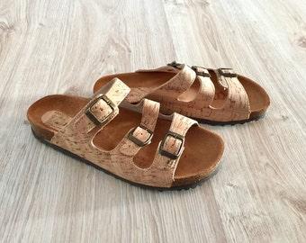 100% Cork Sandals, Cork and leather Sole, Platform Slides Summer Shoes Original Comfortable Sandals, Comfort Fit