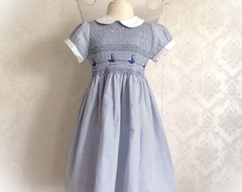 "Short-sleeved striped dress blue ""barchetta"""