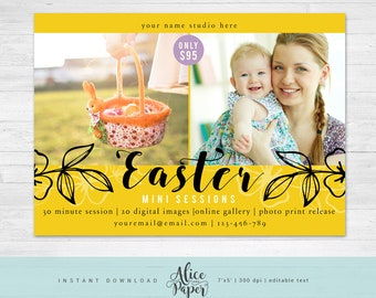 Easter Mini Session Template, Easter Mini Sessions, Easter Marketing Board, Easter Photoshop, Photography Marketing, Spring, Leaves, Yellow