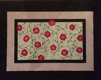 floor cloth - hand painted canvas, floral green rose black taupe