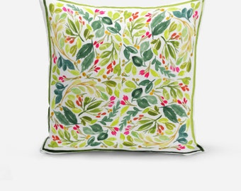 Greenery Throw Pillow, Decorative Throw Pillow, Throw Pillows, Green Decor, Watercolor Throw Pillows, Floral Watercolor Cushions
