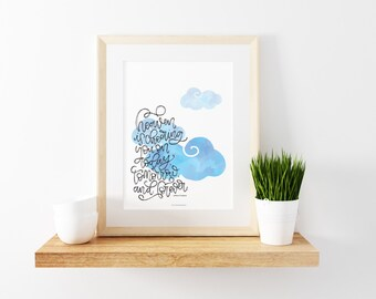 Heaven Is Cheering You On - Handlettered Print