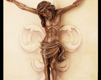 Polychrome Wooden corpus Christi