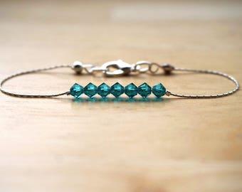 Blue Zircon Swarovski Crystal Bracelet, Sterling Silver Swarovski Bracelet, Thin Swarovski Bracelet, Crystal Bracelet, Teal Bracelet