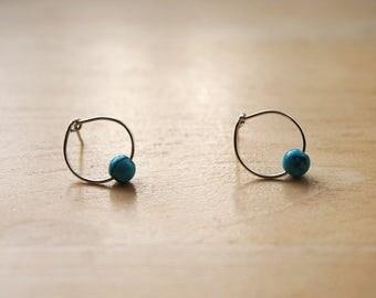 Tiny Turquoise Hoop Earrings, Turquoise Earrings, Tiny Earrings, Tiny Hoop Earrings, Turquoise Jewelry, December Birthstone Earrings