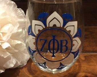 Mandala Design 15oz Stemless Wine Glass (Blue & White)