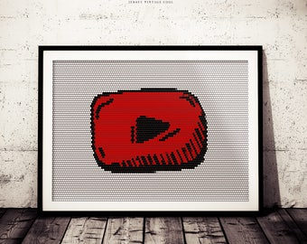 Youtube Logo Art Print, Youtube Poster, Social ICON Poster, Social Media Art Print, App Poster, Mobile App, Youtube Views Plaque