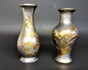 Pewter Brass Overlay Vases Made in Hong Kong Vintage Asian Pewter Home Decor Exotic Decor