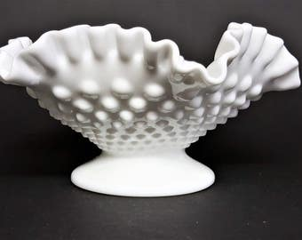 Fenton Milk glass Hobnail Footed Ruffled Compote Vintage Wedding Compote