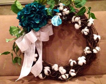 Cotton wreath, farmhouse wreath, grapevine wreath, wreath with teal greenery & burlap
