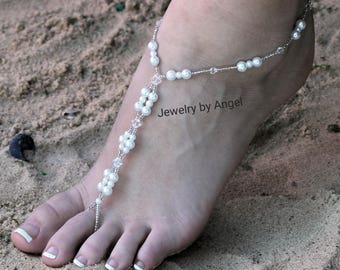 Foot Jewelry Sandal Anklet Crystal Wedding Foot Jewelry Slave Anklet Foot Thong Beach Wear Crystal Bridal Barefoot Bridesmaid Gift