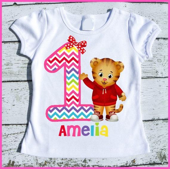 Custom Personalized Girl Daniel the Tiger Birthday tee shirt with Hot Pink Rainbow Chevron