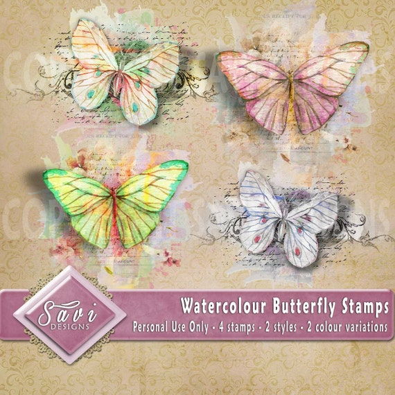 Watercolour Butterfly Stamps Personal Use Embellishments x 4 for Digital Scrapbooking or Craft projects