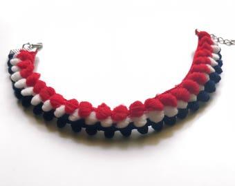 Patriotic red white and blue pom pom choker