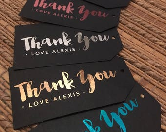 FOILED Personalised | Personalized Thank You Tags | Gift Tags | Hang Tags | Swing Tags | Metallic | Gold | Rose Gold | Silver | Pink | Teal