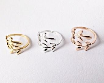 Ring leaves GOLD, flowers, twig, adjustable