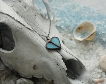 Blue heart necklace, minimalist necklace, boho jewelry, bohemian necklace, mini necklace, simple necklace, beach jewelry, hippie jewelry