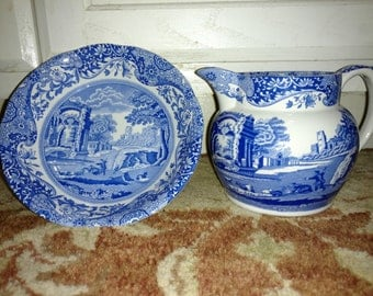 Blue Spode Italian pitcher and bowl Microwave & Dishwasher Safe