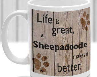 Sheepadoodle, Sheepadoodle gift, dog breed mug, ideal present for dog lover