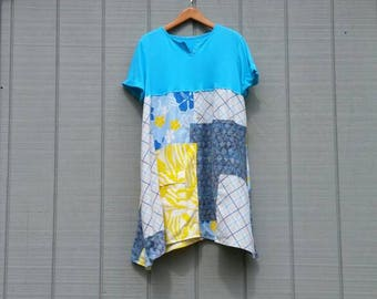 Reserved....... dress,plus size,summer dress,blue,yellow,white,proposed clothing,artsy clothing,patchwork dress,tunic,