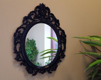Baroque Mirror Bathroom Mirror Vanity Mirror Ornate Shabby Cottage Chic Mirror Black Mirror Vintage Style Wall Mirror French Provincial