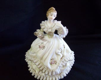 Vintage Porcelain Victorian Lady Music Box
