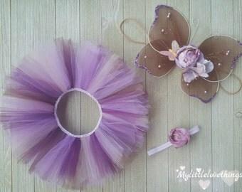 Newborn & Infant Purple Fairy Costume, Newborn Tutu and Wings Set, Newborn Photography Tutu Set *Add'l Tutu Colors*