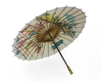 Vintage parasol Oriental paper bamboo and wood painted parasol Art and collectable vintage decorative parasol