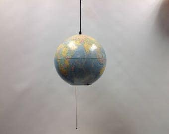 "Globe Pendant light, Replogle World Nation globe 12"" Faded light blue vintage globe pendant light"
