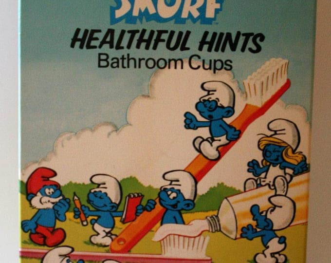 Vintage 1983 Smurf Premium Package of Dixie Cups MINT Sealed Condition RARE