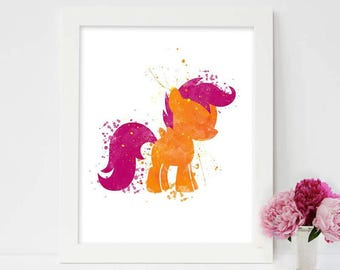 My Little Pony, Scootaloo Wall Art, Printable, Instant Download, My little pony wall art, Little pony poster, Nursery room decor, Girls gift