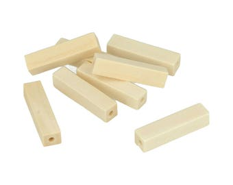10 pearls Rectangle wood 30 x 6.6 mm - beads wood - wood - Perle Rectangle Perle