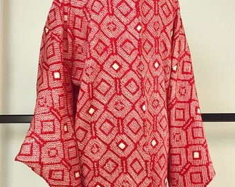 Japanese  K222 Red Soshibori Haori Kimono Jacket