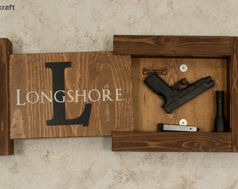 Solid Pine Concealed Gun Storage, Gun Storage, Hidden Gun Storage, Monogram Family Name Sign