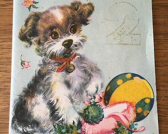 Vintage | Puppy Dog | 2nd Birthday | Greeting Card