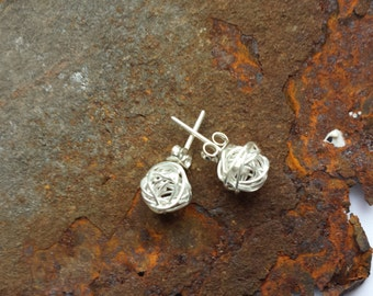 Wire ball earrings made of 925 Silver