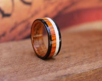 Elk Antler Wood Ring - Antler Wedding Band  Cocobolo Wood Ring  Wooden Ring Men Engagement Ring Woman Anniversary Wood