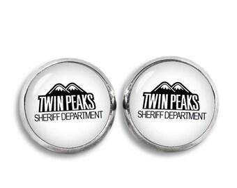 Twin Peaks Stud Earrings Sheriff Department Twin Peaks Earrings Jewelry Geeky Fangirl Fanboy Christmas Gift