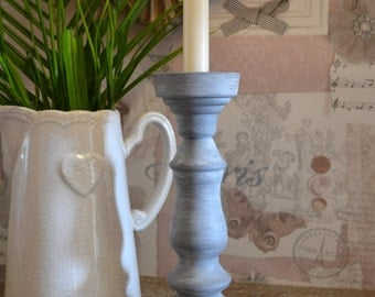 Large Hand Painted Grey Vintage Glass Candlestick Holder Home Shabby Chic Free Local Delivery