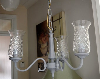 3 Arm Glass Grey Metal Ceiling Light Chandelier Shabby Chic FREE Delivery within 10-mile radius of EN3