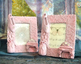 Pair Hand Painted Girls Ornate Photo Picture Frame Lilac Pink Diamante Ballet