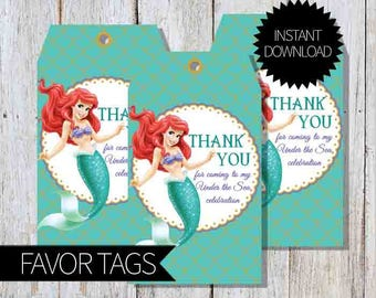 Little Mermaid Birthday Party PRINTABLE Favor Tags- Instant Download | Disney | Princess Ariel | The Little Mermaid