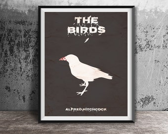 Movie poster print,The birds-movie poster printable,Alternative movie poster,Minimalistic film poster,Instant Download,Printable files