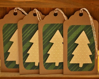 Christmas Gift Tag Set - Embossed Holiday Gift Tags - Christmas Gift Tags - Set of 4