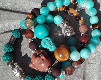 Bracelets of the stacking of the Budhhas agate volcano eye Tiger birthday friend peace good energy... The mother Aunt sister... It